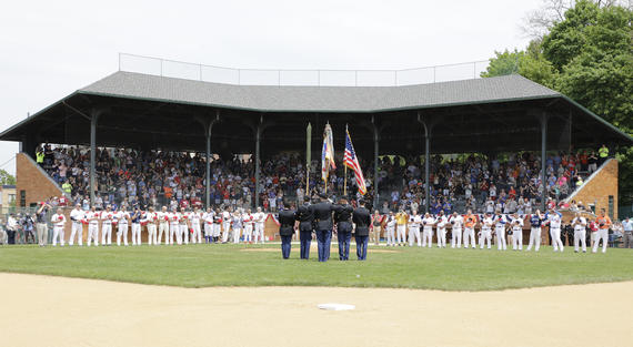 The National Anthem, prior to the start of the 2018 Hall of Fame Classic. (Milo Stewart Jr./National Baseball Hall of Fame and Museum)