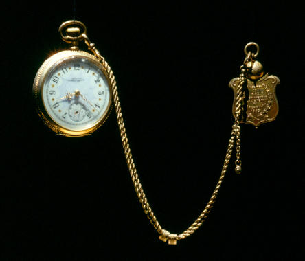 This watch and fob was presented to Boston shortstop Freddy Parent after his team defeated the Pittsburgh Pirates in the inaugural modern World Series in 1903. The tradition of presenting watches and fobs to winners of the World Series continued into the 1920s. B-55.99 (Milo Stewart, Jr. / National Baseball Hall of Fame)