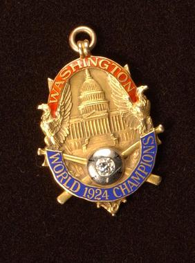 1924 World Series charm presented to Washington Senator Nick Altrock. B-299.66 (Milo Stewart, Jr. / National Baseball Hall of Fame)