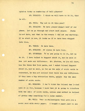 Uniform numbers were a subject of intense debate during the National League's 1932 Midsummer Meetings in New York. These excerpts from the meeting minutes show Cardinals owner Sam Breadon's reluctance to use numbers in the 1932 season, while other club representatives, including the Cubs' Bill Veeck, the Giants' Charles Stoneham, the Dodgers' Frank York, and the Phillies' L.C. Ruch, are interested in the notion. BL-2018.2004 (National Baseball Hall of Fame Library)