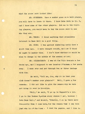 Page 75 of the National League's 1932 Midsummer Meetings Notes. BL-2018-2004 (National Baseball Hall of Fame Library)