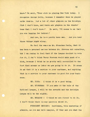 Page 76 of the National League's 1932 Midsummer Meetings Notes. BL-2018-2004 (National Baseball Hall of Fame Library)