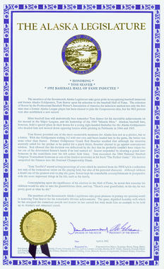 Certificate given to Tom Seaver from the Alaska State Legislature on April 8, 1992, honoring his Hall of Fame election. B-220.92 (National Baseball Hall of Fame Library)