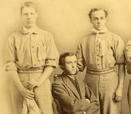 Detail from a photograph of the Albany Nationals. B-81.50 (National Baseball Hall of Fame)