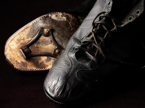 Sam Crawford's shoes -  B-142-57  (Milo Stewart Jr./National Baseball Hall of Fame Library)