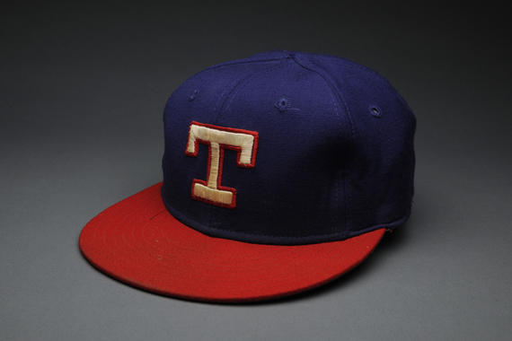 Texas Rangers cap worn Bert Blyleven on September 22, 1977 when he pitched a no-hit game against the California Angels. - B-230.77  (Milo Stewart Jr./National Baseball Hall of Fame Library)