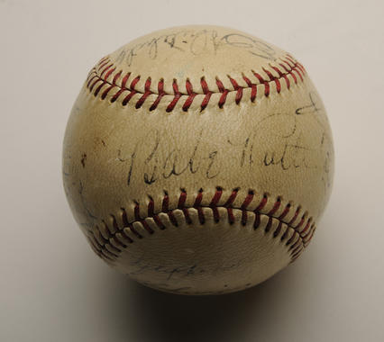 Originally presented to Dr. Herbert Bowles of St. Luke's Hospital in Tokyo, this baseball bears the autographs of numerous players who participated in the 1934 American baseball tour to Japan. - B-266-2001 (Milo Stewart, Jr./National Baseball Hall of Fame Library)