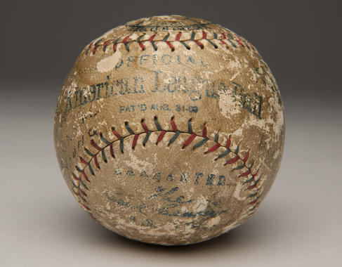 Baseball signed by Harry Heilmann from a 1921 game between the Tigers and Yankees. B-292.2009 (Milo Stewart, Jr. / National Baseball Hall of Fame)