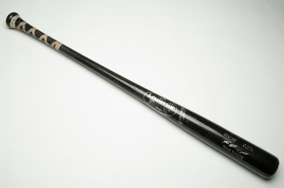Bat used by Texas Rangers' catcher Ivan Rodriguez to record his 35th home run of the 1999 season. With this home run, Rodriguez set the single-season home run record for catchers. (Milo Stewart, Jr. / National Baseball Hall of Fame)