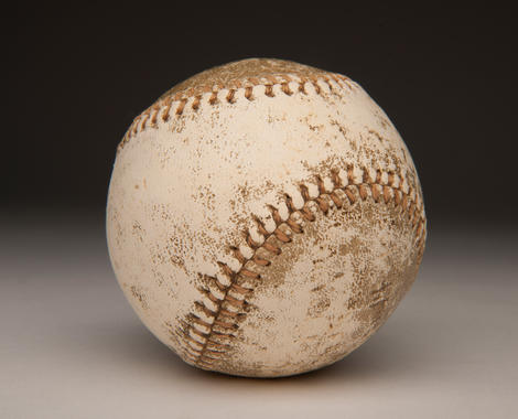 A baseball from the 1905 World Series between the New York Giants and Philadelphia Athletics. The ball was donated by Dahlen, the Giants shortstop, and his brother. B-464.65 (Milo Stewart, Jr. / National Baseball Hall of Fame)