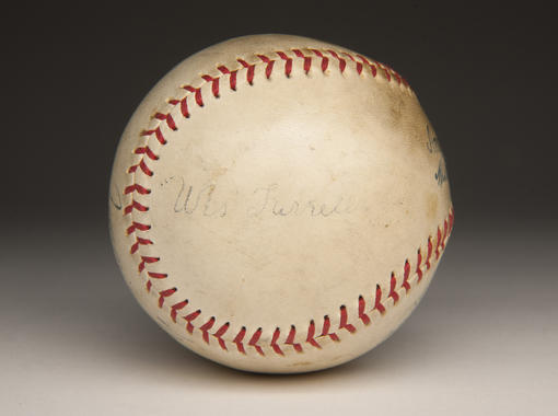 A baseball signed by Wes Ferrell, Joe Cronin, Jimmie Foxx, and Lefty Grove. B-622.75 (Milo Stewart, Jr. / National Baseball Hall of Fame)