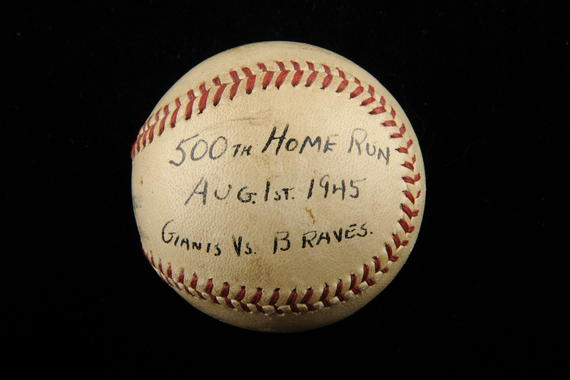 Ball hit by Mel Ott of the New York Giants for the 500th home run of his career, August 1, 1945, in a night game at the Polo Grounds against the Braves - B-260-2000 (Milo Stewart Jr./National Baseball Hall of Fame Library)