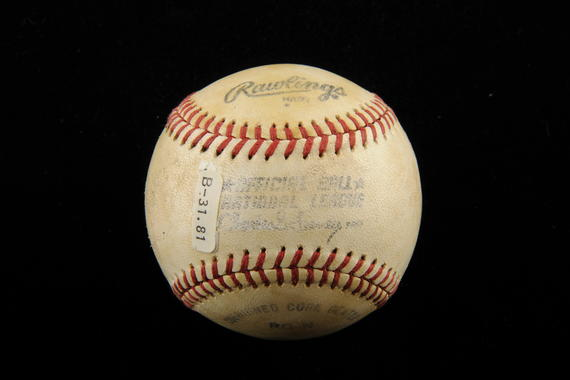 Baseball used by Steve Carlton to record his 3000th strikeout of career, April 29, 1981 at Philadelphia vs. Tim Wallach of the Montreal Expos. - B-31-81  (Milo Stewart Jr./National Baseball Hall of Fame Library)