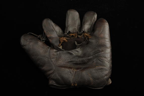 Glove used in 1927 season by Frankie Frisch to set a new major league record for assists and chances accepted at second base - B-399-51 (Milo Stewart Jr./National Baseball Hall of Fame Library)