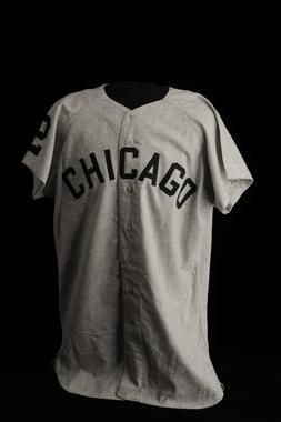 Chicago White Sox road jersey worn by Nellie Fox in 1960, the first major league road uniforms with names on them. - B-61-60 (Milo Stewart Jr./National Baseball Hall of Fame Library)