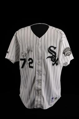 Chicago White Sox jersey worn by Carlton Fisk on June 22, 1993 when he broke the record for games played as catcher - B-67-93 (Milo Stewart Jr./National Baseball Hall of Fame Library)