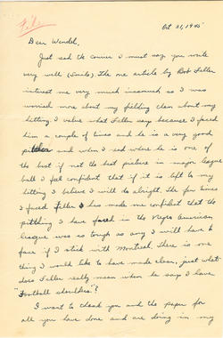 Jackie Robinson to Wendell Smith, October 31, 1945, page 1 - 001BL-1009-2001a (National Baseball Hall of Fame Library) <a href='http://bhof-staging.cogapp.com/node/456'>Detailed Image</a>