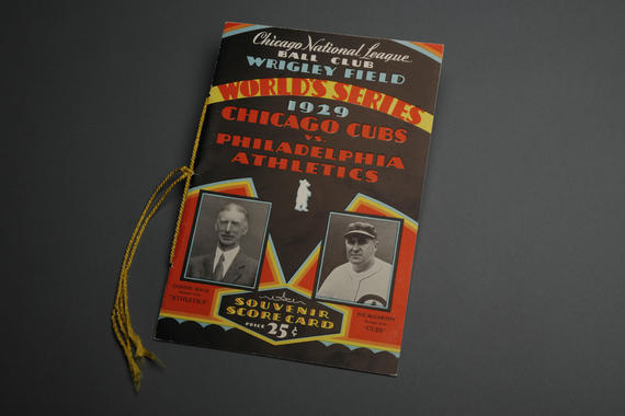 1929 World Series program featuring Athletics manager Connie Mack and Cubs manager Joe McCarthy - BL-446-39 (National Baseball Hall of Fame Library)