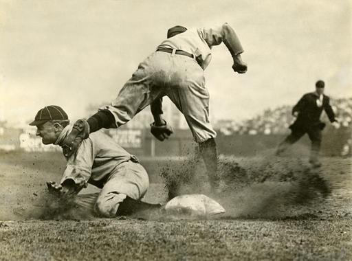 Ty Cobb, Detroit Tigers, sliding into third base, July 23, 1910 - BL-9973-95 (Charles M. Conlon/National Baseball Hall of Fame Library)