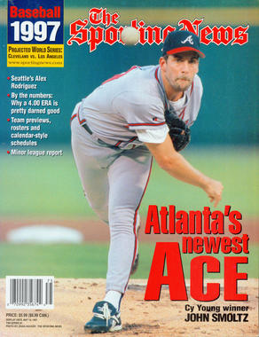 1997 issue of the Sporting News Baseball with John Smoltz on the cover. - BL-80-2013-40 (National Baseball Hall of Fame Library)
