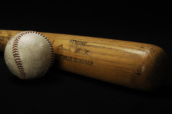 Bat (B-137.70) used by Ernie Banks to hit his 500th career home run - and the ball (B-127.70) he hit out of the park - on May 12, 1970. Banks became just the ninth player to reach the 500 home run mark.  (Milo Stewart Jr./National Baseball Hall of Fame)