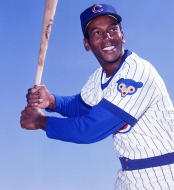 Ernie Banks played 19 years for the Chicago Cubs, leaving behind a legacy of outstanding play and unwavering enthusiasm. Banks redefined the hitting expectations at shortstop with power never before seen at the position. He finished his career with 512 home runs and was elected to the Hall of Fame in 1977. - BL-1972A (Doug McWilliams / National Baseball Hall of Fame Library)