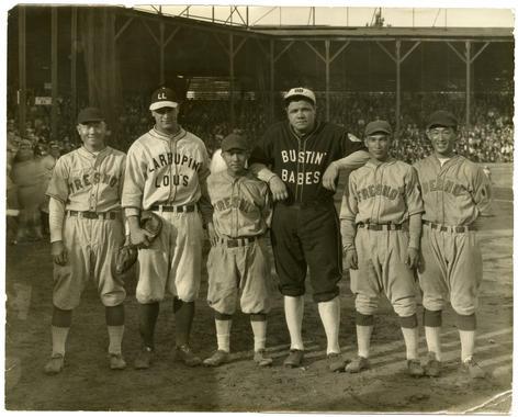 Johnny Nakagawa, Lou Gehrig, Kenichi Zenimura, Babe Ruth, Fred Yoshikawa, and Harvey Iwata at an exhibition barnstoriming game at Fresno's Fireman's Ballpark on October 29, 1927. BL-5487.88