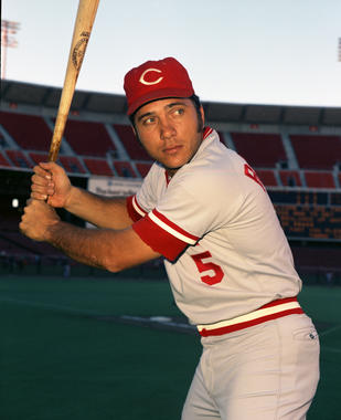 Johnny Bench, Cincinnati Reds, in San Francisco's Candlestick Park, 1973 - BL-CR73-555 (Doug McWilliams/National Baseball Hall of Fame Library)