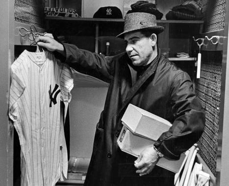 Yogi Berra, New York Yankees, at his locker in Yankee Stadium, April 10, 1961 - BL-4267-68 (National Baseball Hall of Fame Library)
