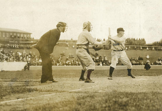 Roger Bresnahan, New York Giants, batting at the Polo Grounds in 1906 - BL-1461-68 (National Baseball Hall of Fame Library)
