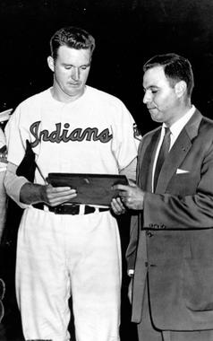 Lou Brissie receiving a plaque from Leo Schnieder President of the 83rd Infantry commemorating his service in the war. BL-2555.88 (National Baseball Hall of Fame Library)