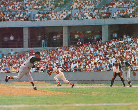 Lou Brock, St. Louis Cardinals, breaks for second base at Busch Stadium - BL-1283-72 (National Baseball Hall of Fame Library)