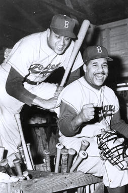 Don Newcombe, left, with Roy Campanella. BL-3824.72 (National Baseball Hall of Fame Library)