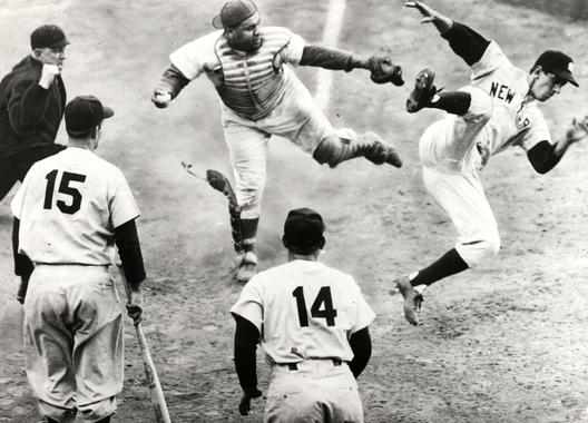 Roy Campanella and Billy Martin collide at home plate. BL-6845.90 (National Baseball Hall of Fame Library)