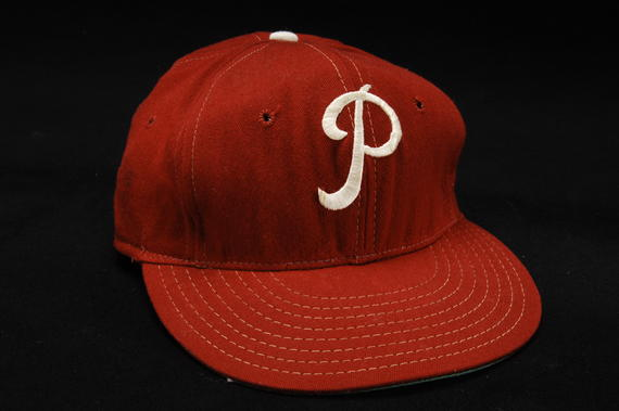 Philadelphia Phillies cap worn by pitcher Jim Bunning when he pitched a no-hitter on June 21, 1964 against the New York Mets at Shea Stadium. - B-598-64 (Milo Stewart Jr./National Baseball Hall of Fame Library)