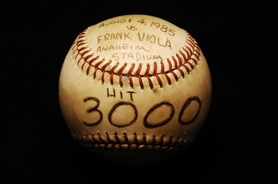 Baseball hit by Rod Carew for his 3000th career base hit 8/4/85 - B-129-91  (Milo Stewart Jr./National Baseball Hall of Fame Library)