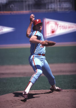 Steve Carlton of the Philadelphia Phillies pitching in game. - BL-3705.84 (National Baseball Hall of Fame Library)