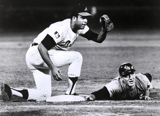 Atlanta Braves first baseman Orlando Cepeda tags the Dodgers Tom Haller in 1969 - BL-607-92 (National Baseball Hall of Fame Library)