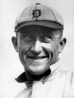 Ty Cobb smiling in his Detroit Tigers cap. BL-132.46aa