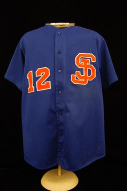 San Juan Senadores (alternate) uniform shirt worn by Roberto Alomar during the 1996 Winter League season in Puerto Rico. - B-67.2011  (Milo Stewart Jr./National Baseball Hall of Fame Library)