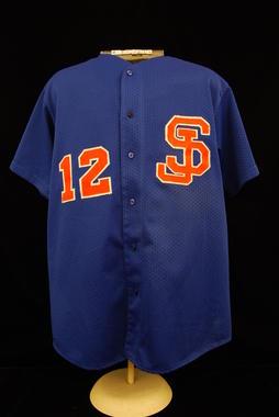 San Juan Senadores (alternate) uniform shirt worn by Roberto Alomar during the 1996 Winter League season in Puerto Rico. - B-67.2011  (Milo Stewart Jr./National Baseball Hall of Fame Library)