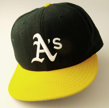Oakland A's cap worn by Dennis Eckersley when he became the sixth reliever in history to record 300 saves, May 24, 1995 - B-119-95  (Milo Stewart Jr./National Baseball Hall of Fame Library)
