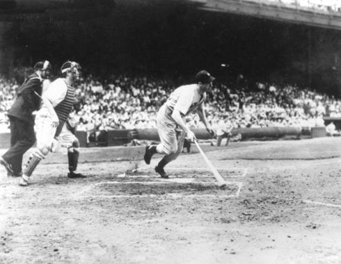 Joe DiMaggio, New York Yankees, hitting in his 56th consecutive game, Cleveland, July 16, 1941 - BL-5595-95 (National Baseball Hall of Fame Library)