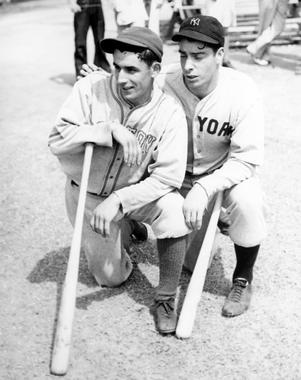 Vince DiMaggio of the Red Sox and Joe DiMaggio of the Yankees. - BL-1932-68WTx (National Baseball Hall of Fame Library)