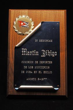 Plaque honoring Martín Dihigo - B-213-77 (Milo Stewart Jr./National Baseball Hall of Fame Library)