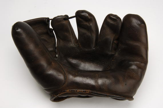 Glove used by Bobby Doerr of Red Sox in 1948 season; had 73 games, 414 chances without an error, a fielding record at the time - B-28-86  (Milo Stewart Jr./National Baseball Hall of Fame Library)