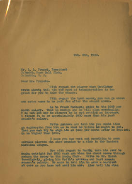 Page 1 - Letter dated Feburary 6, 1929, from Samuel Dreyfuss to L.L. Propst. Dreyfuss replies to Propst's letter from February 1st regarding player transactions and contract terms. - BL-1061-2001 (National Baseball Hall of Fame Library)
