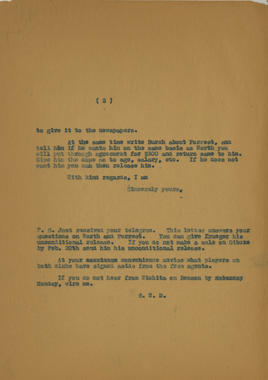 Page 2 - Letter dated Feburary 6, 1929, from Samuel Dreyfuss to L.L. Propst. Dreyfuss replies to Propst's letter from February 1st regarding player transactions and contract terms. - BL-1061-2001 (National Baseball Hall of Fame Library)
