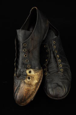 Shoes worn by Cleveland Indians pitcher Bob Feller when he struck out 18 batters in a game, then the major league record, October 2, 1938 - B-2851-63 (Milo Stewart Jr./National Baseball Hall of Fame Library)