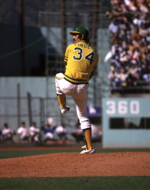 Rollie Fingers, Oakland A's, first game of the World Series, October 12, 1974 at Dodger Stadium - BL-91-2005 (National Baseball Hall of Fame Library)
